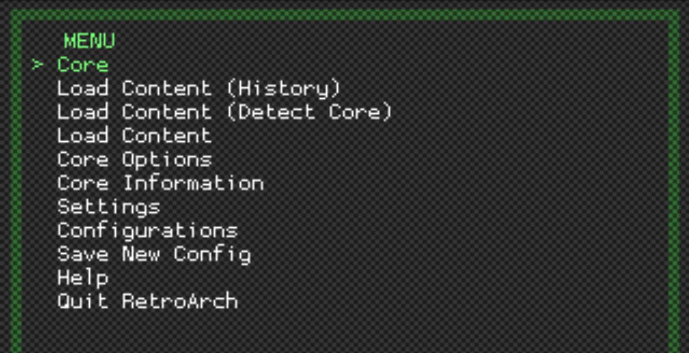 RetroArch menu screen